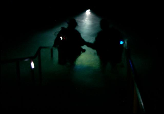 Instructors and Advanced class in a night dive.